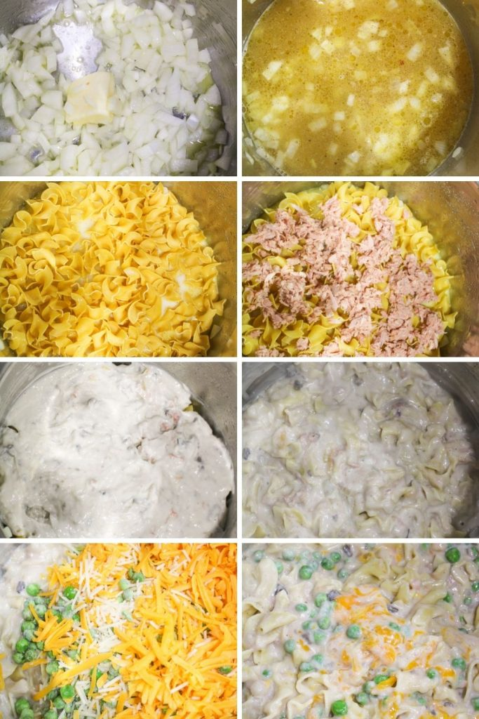 a collage showing how to make instant pot tuna noodle