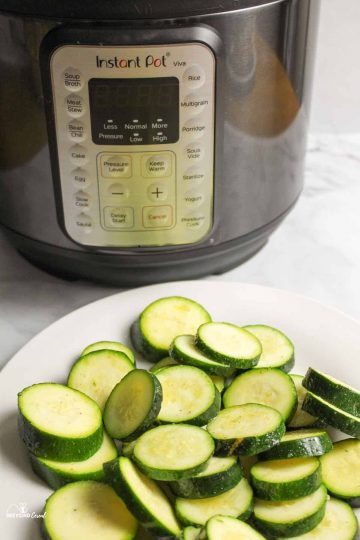 steamed zucchini in front of instant pot