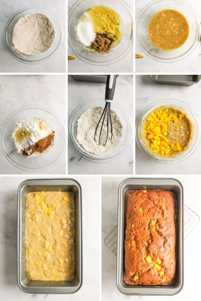 collage showing how to make mango banana bread