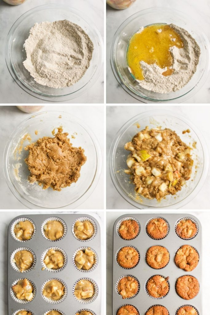 collage showing how to make pear muffins