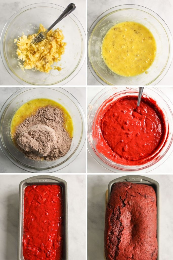 a collage showing how to make red velvet banana bread