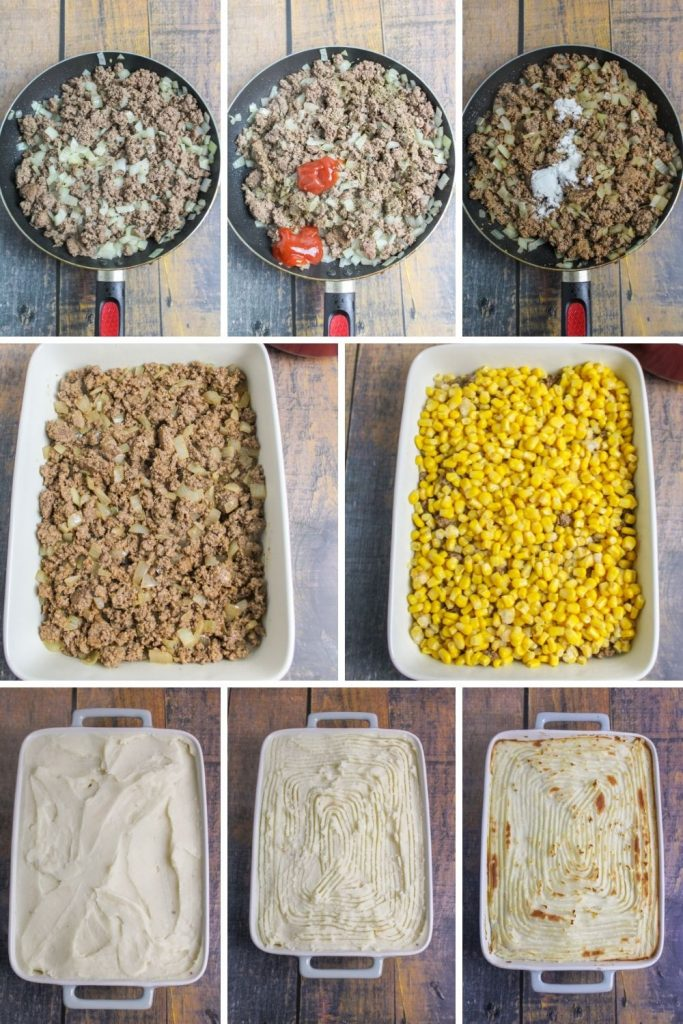 collage showing how to make and assemble shepherds pie
