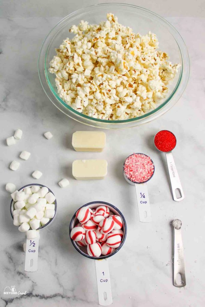 ingredients needed for white chocolate peppermint popcorn
