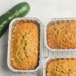 aerial view of zucchini bread with fresh veggies