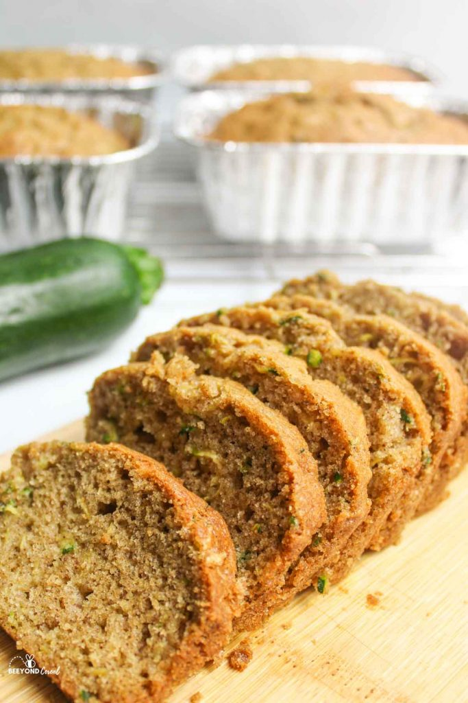 a view of sliced zucchini bread to reveal soft crumb