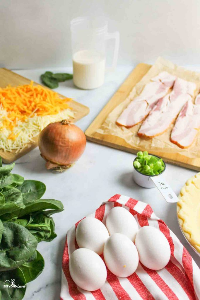 ingredients needed for spinach bacon quiche