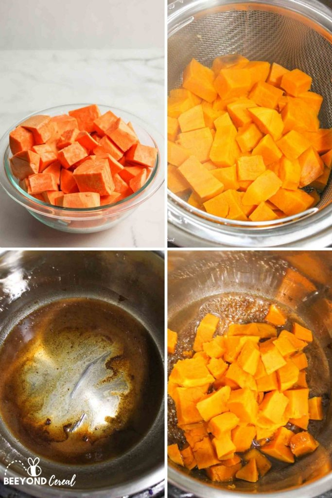 collage showing how to make instant pot sweet potatoes