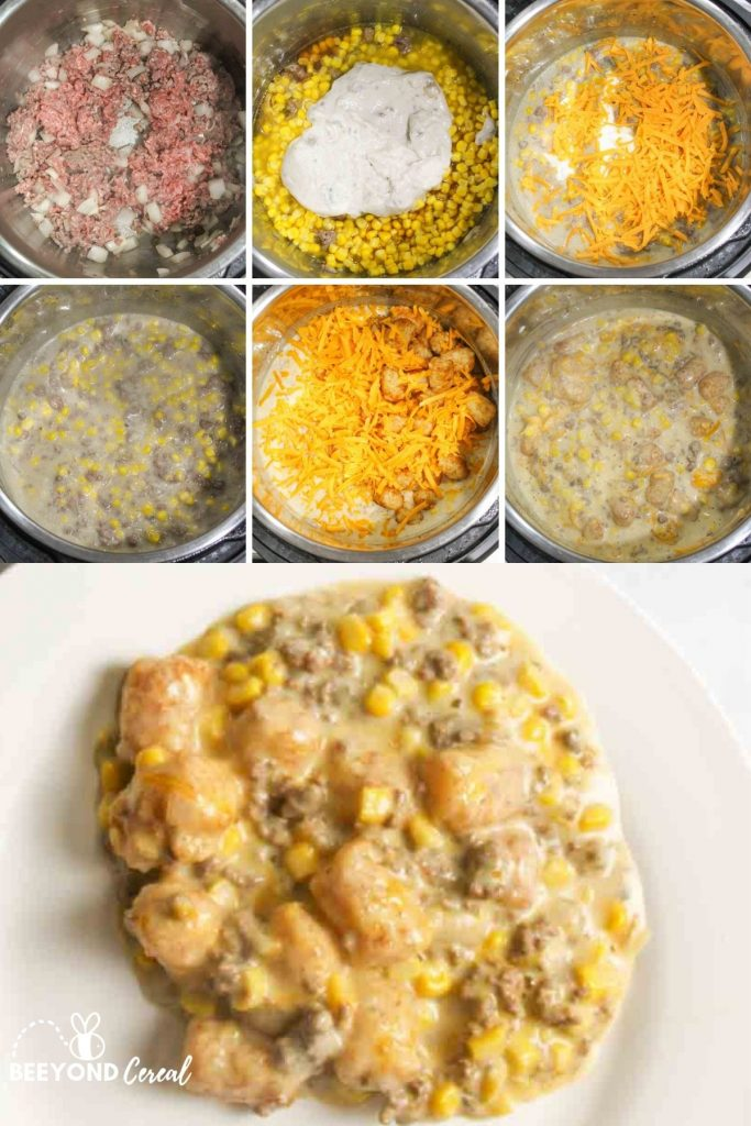 collage showing how to make tater tot casserole in instant pot