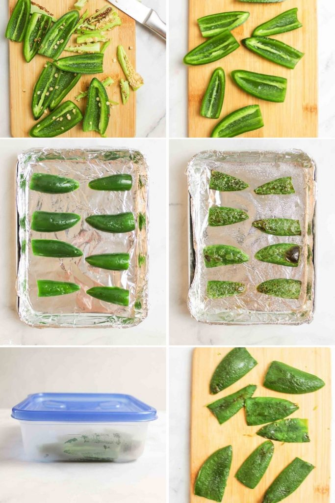 a collage showing how to make roasted jalapenos in the oven