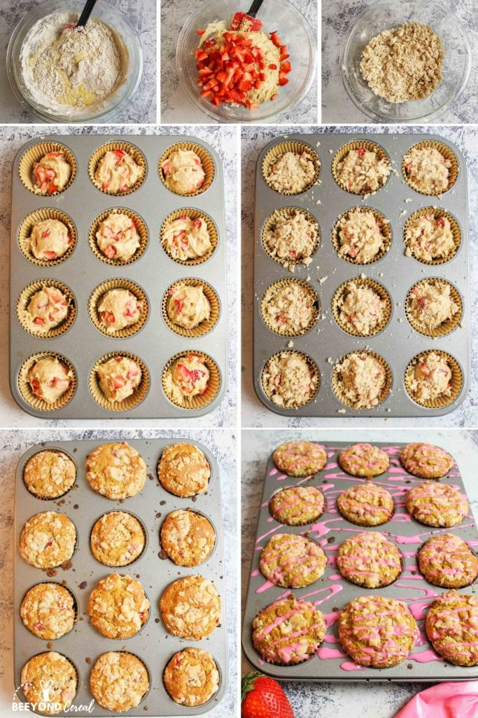 collage showing how to make strawberry muffins