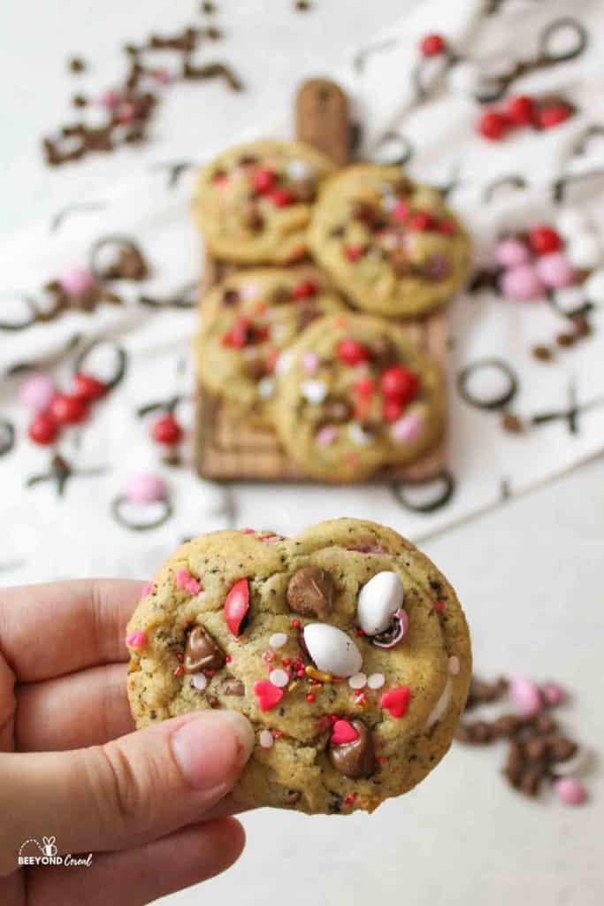 stack of valentine M&M cookies