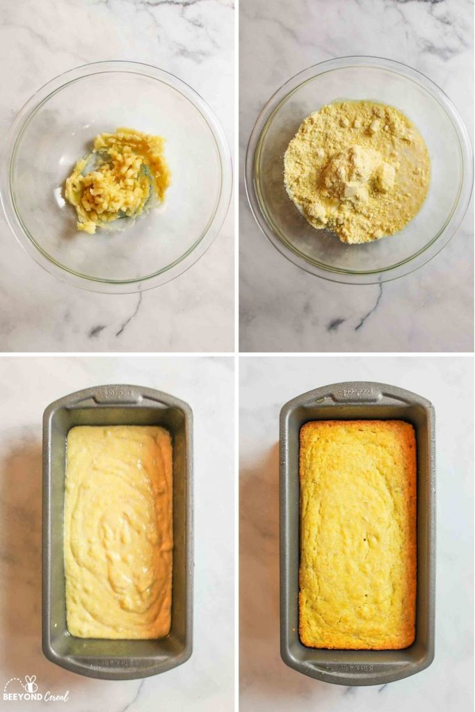 a collage showing how to make banana cornbread