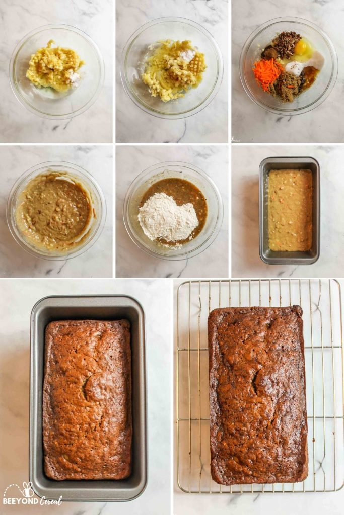 collage showing how to make carrot cake banana bread