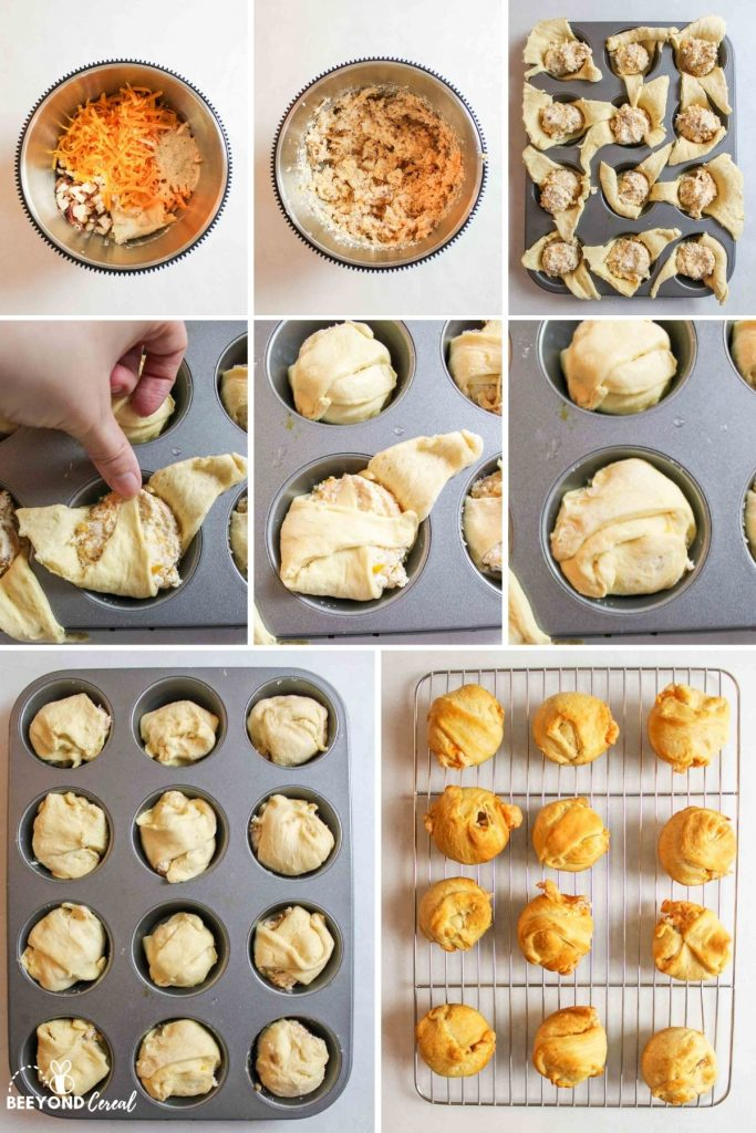 a collage showing how to make chicken crescent bombs