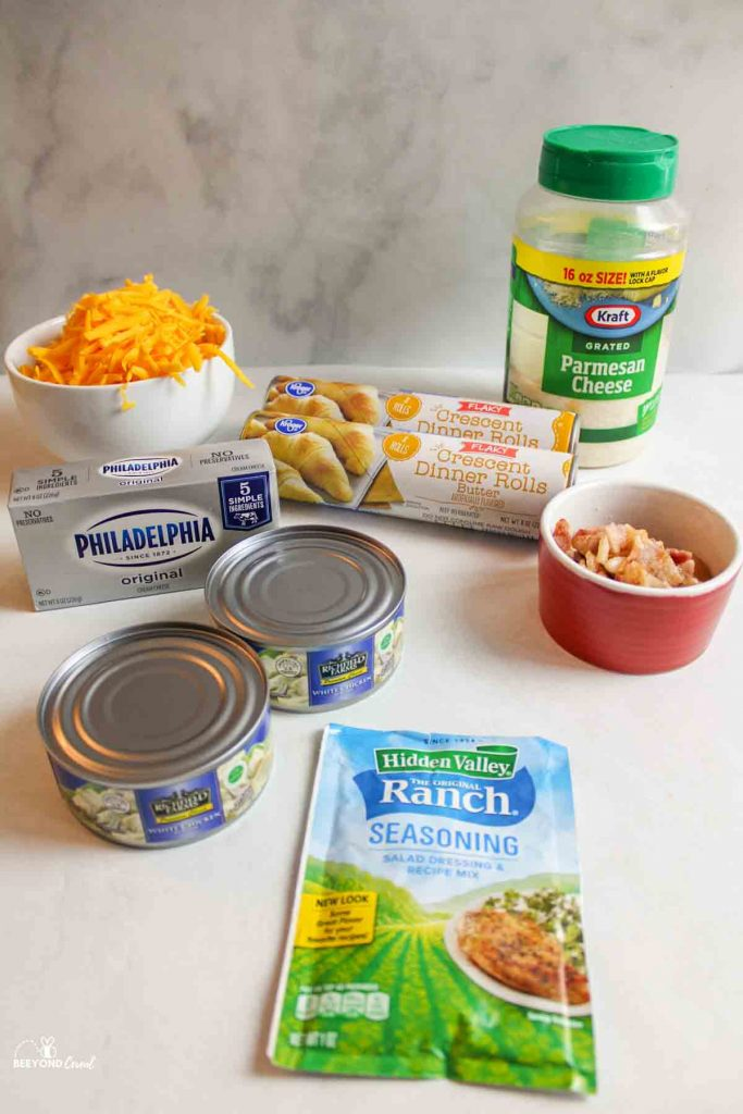 ingredients needed for chicken ranch bacon crescent bombs