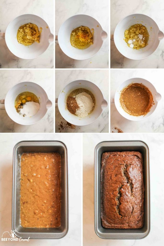 collage showing how to make chocolate orange banana bread