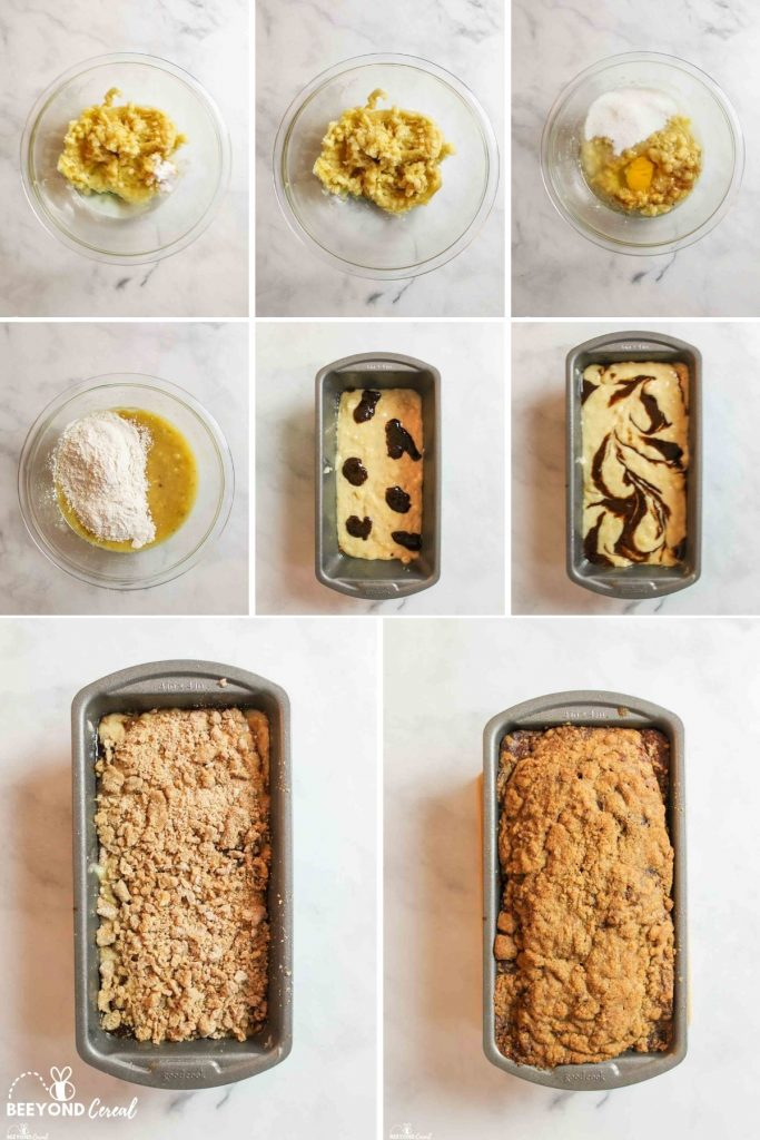 a collage showing how to make Cinnamon Swirl Banana Bread