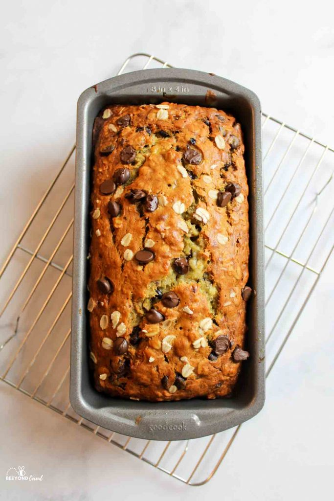 aerial view of oatmeal chocolate chip banana bread in loaf pan on wire rack
