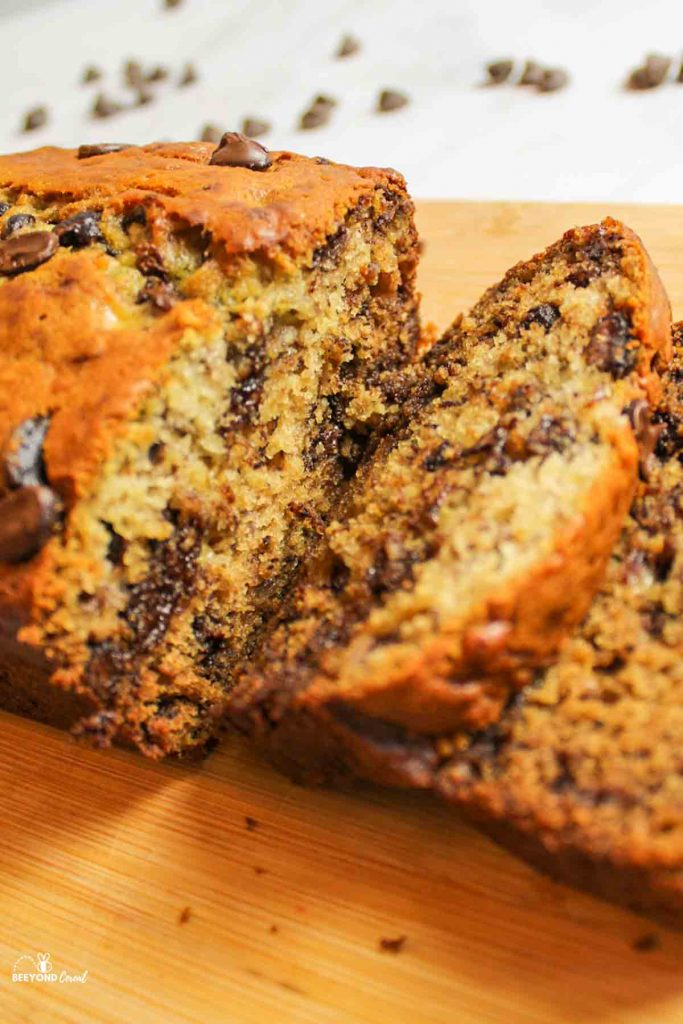 inside a sliced loaf of chocolate chip banana bread