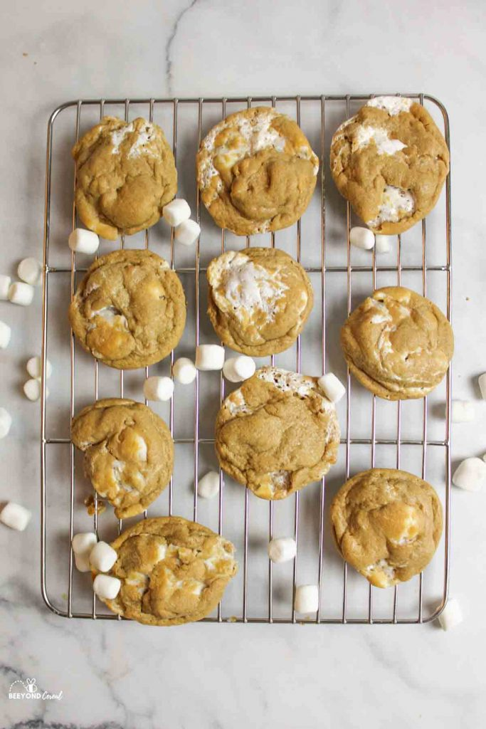 aerial view of cooling rack with pb marshmallow cookies with scattered mini marshmallows