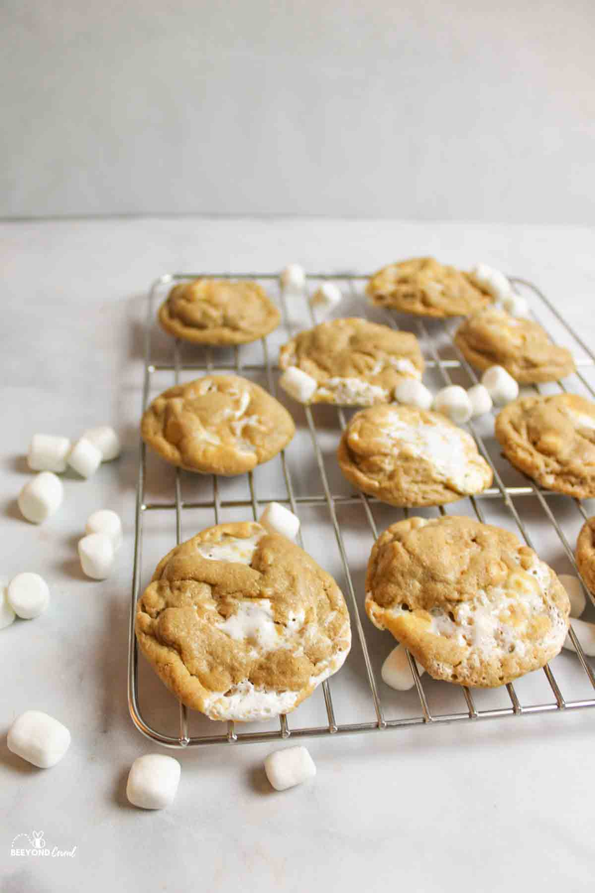 peanut butter marshmallow cookies on a wire cooling rack with mini marshmallows scattered around it