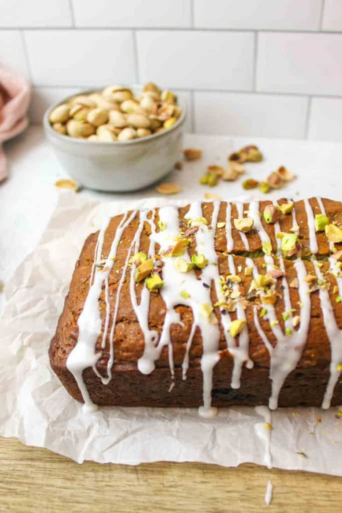 collage showing how to make pistachio banana bread