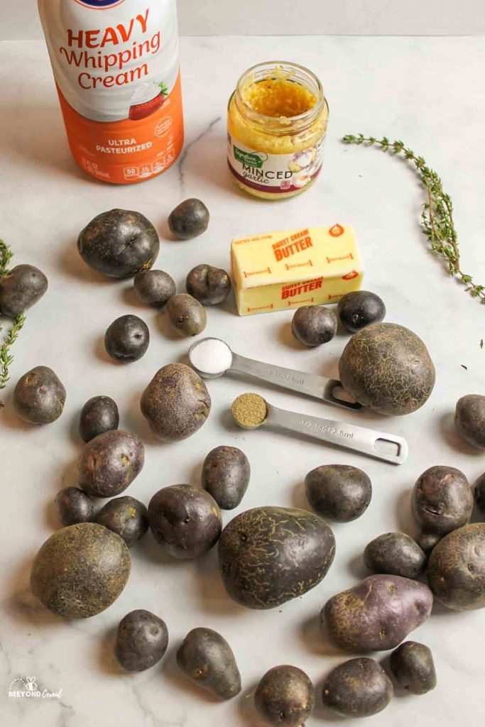 ingredients needed for purple mashed potatoes