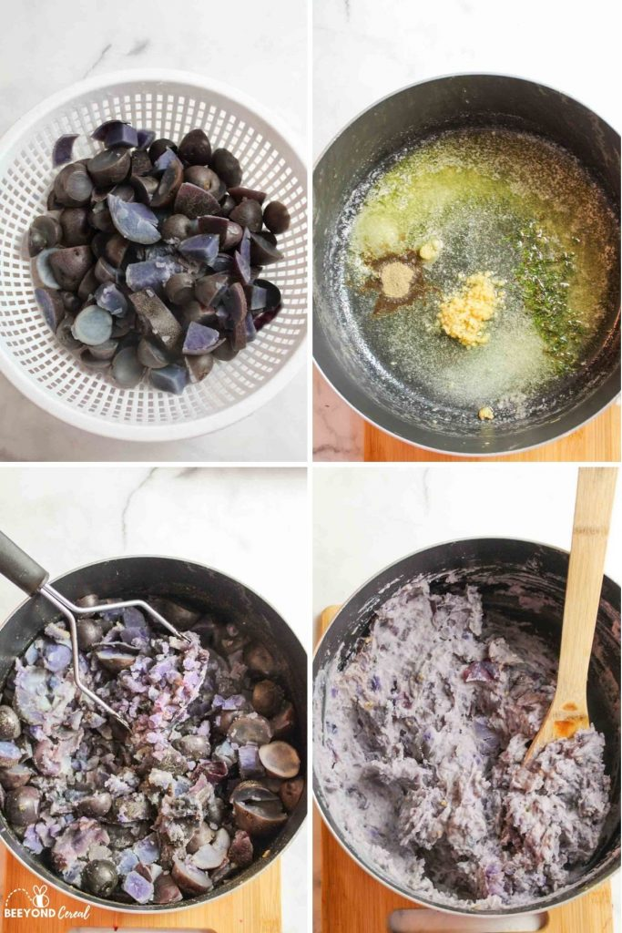collage showing how to make purple mashed potatoes