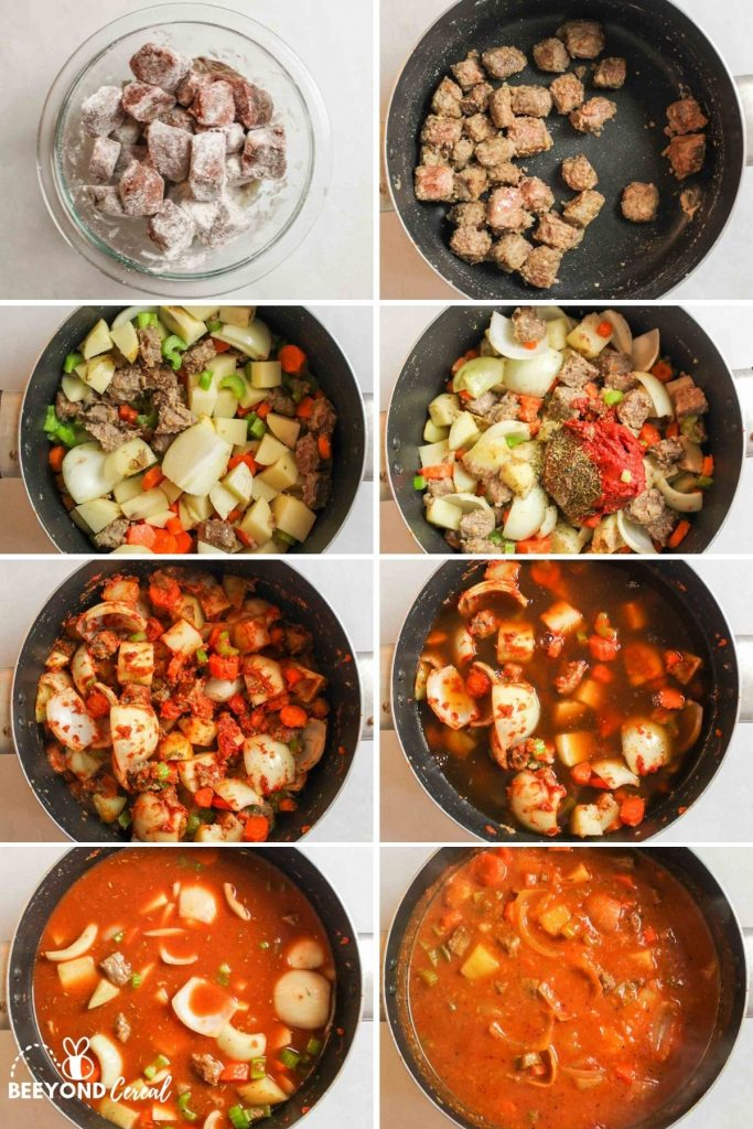a collage showing how to make beef stew on the stove top