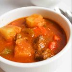 a close up of beef stew in a bowl
