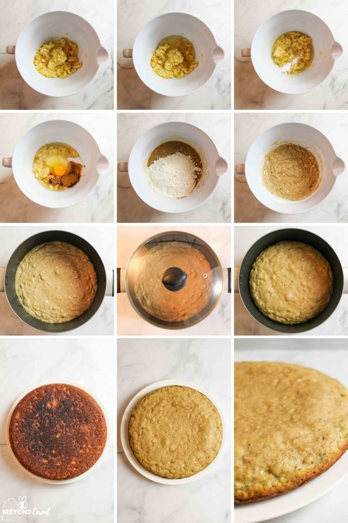collage showing how to make stovetop banana bread