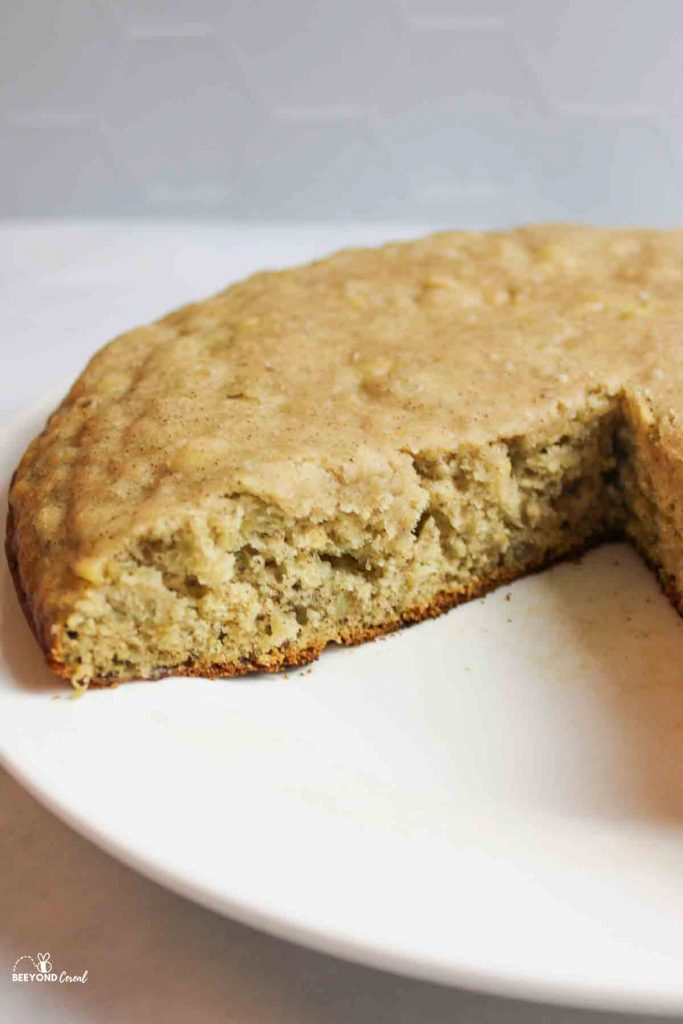 a sliced round of stovetop banana bread