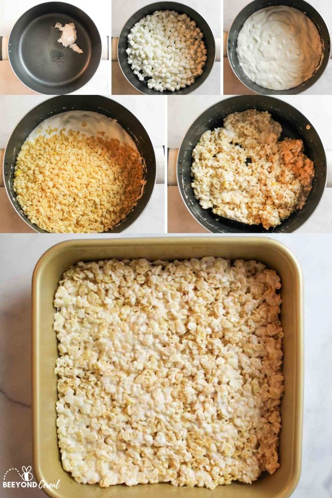 collage showing how to make dairy free coconut oil rice krispies