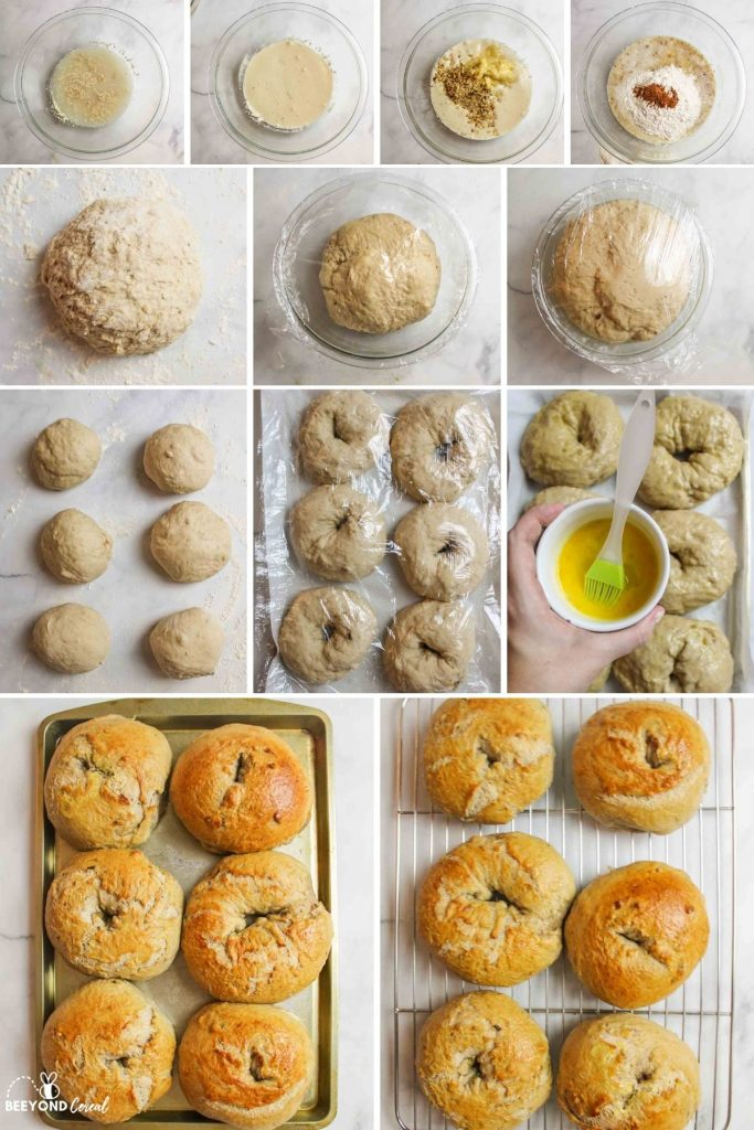 a collage showing how to make banana bagels