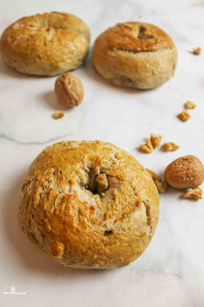 banana bagels with scattered walnuts