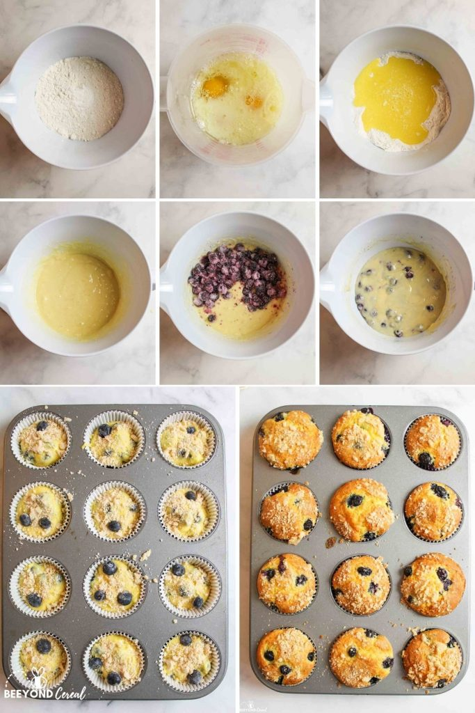 a collage showing how to make blueberry cake mix muffins