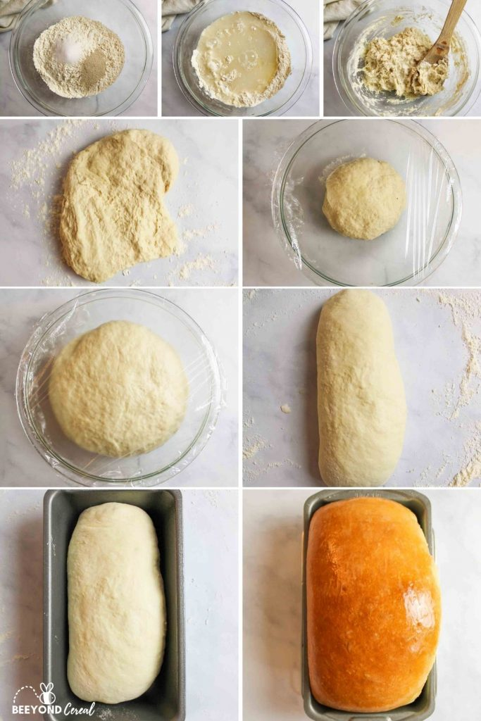 a collage showing how to make dairy free white bread