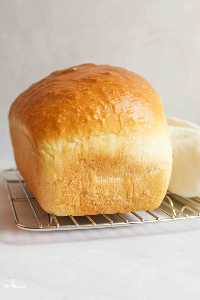 a loaf of golden crusted white bread on a cooling rack