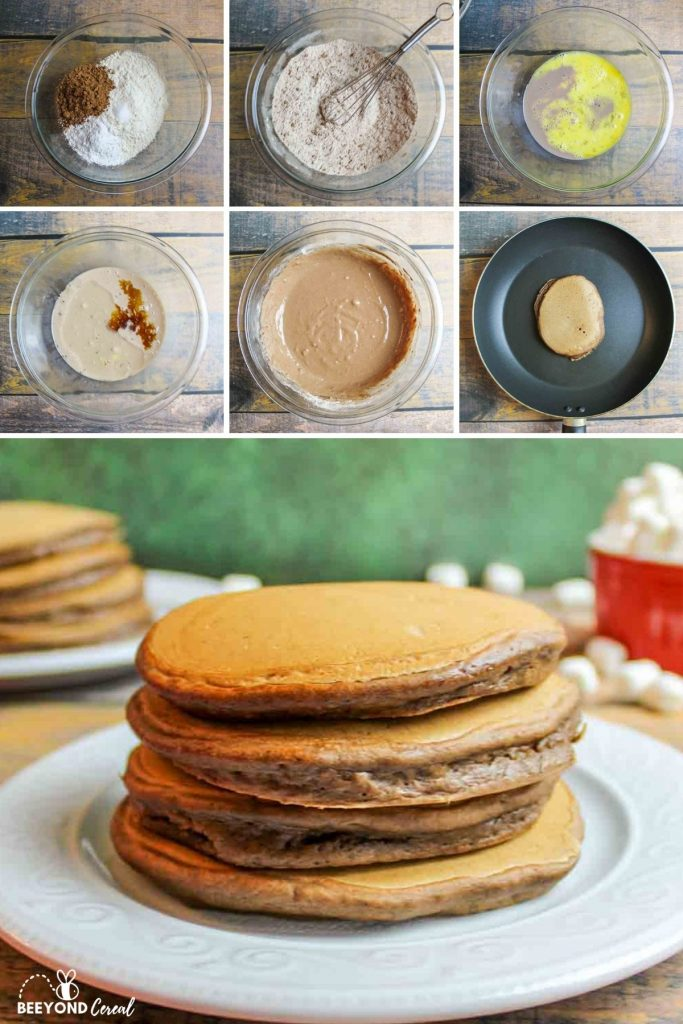a collage showing how to make hot chocolate pancakes