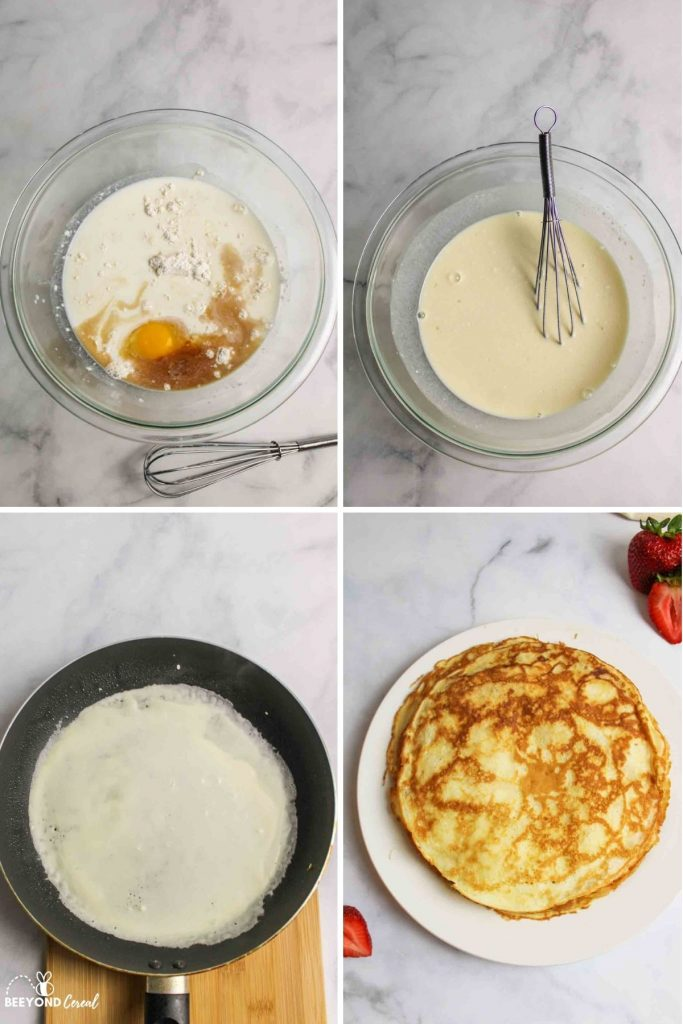 collage showing how to make pancake mix crepes