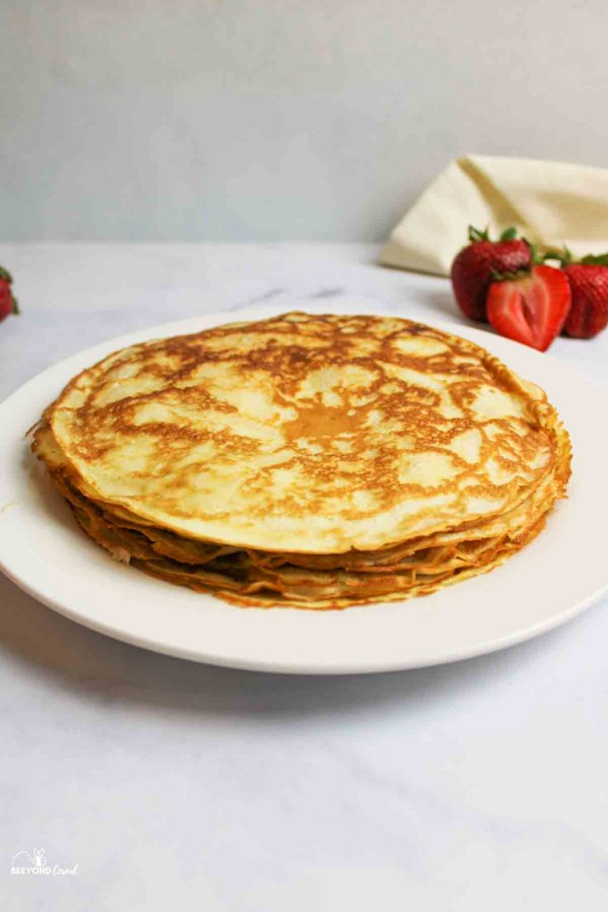 a stack of cooked crepes made with pancake mix