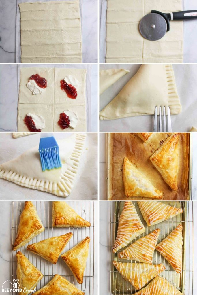 collage showing how to make strawberry cream cheese turnovers
