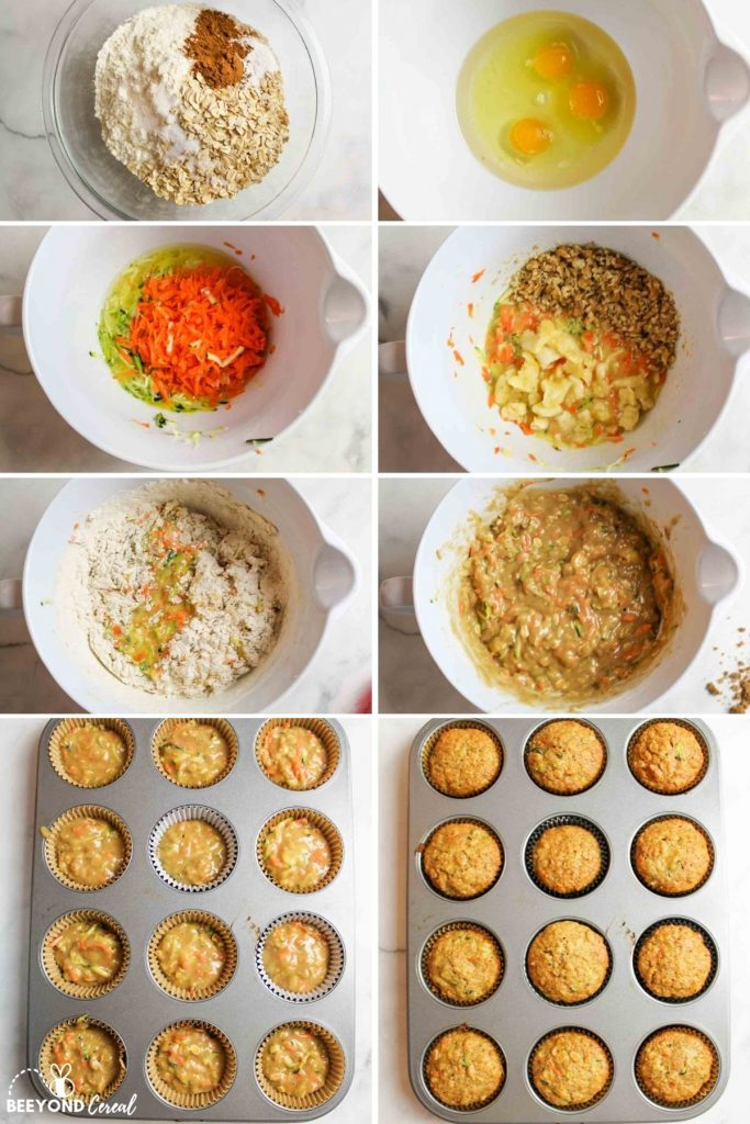 a collage showing how to make zucchini carrot oatmeal muffins