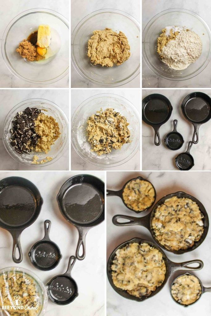 a collage showing how to make oreo pizookies