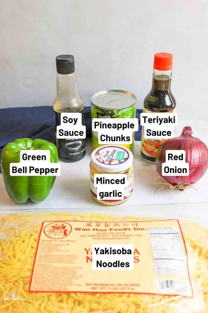 ingredients needed for pineapple teriyaki yakisoba noodles