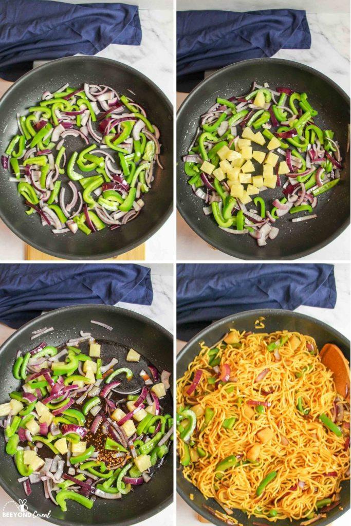 collage showing how to make pineapple teriyaki yakisoba noodles