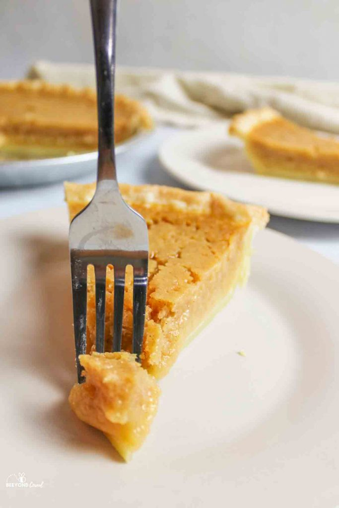 a fork taking a bite out of a slice of applesauce pie