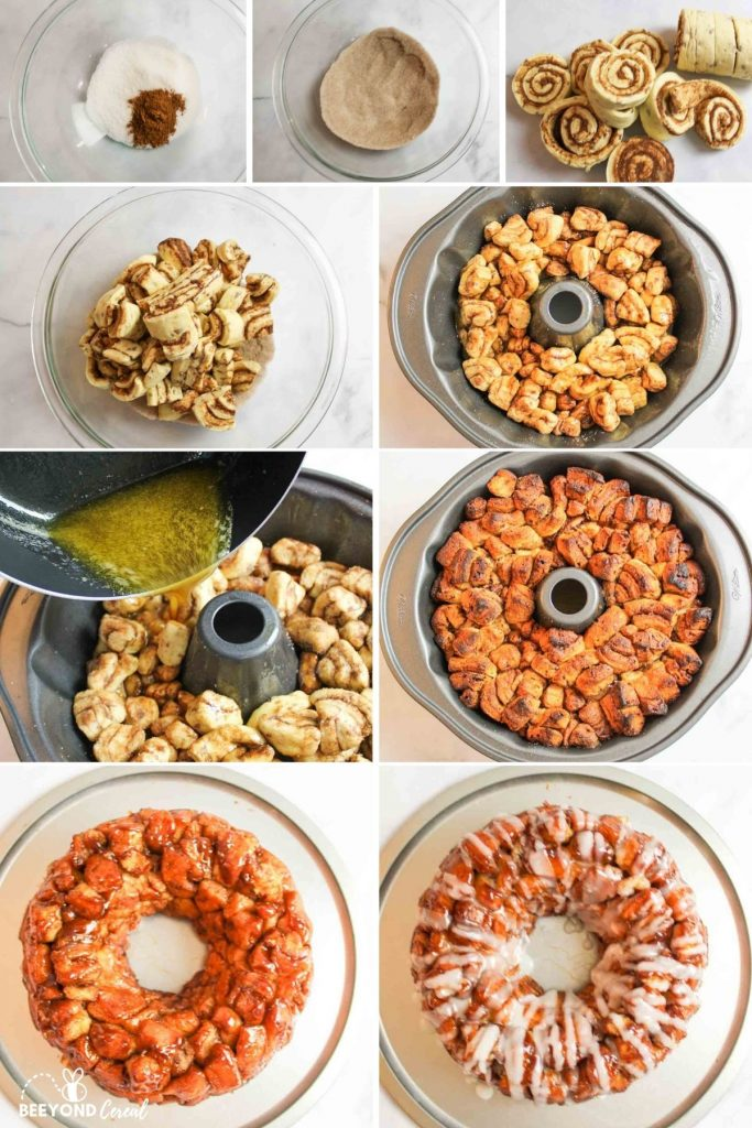 collage showing how to make cinnamon roll monkey bread