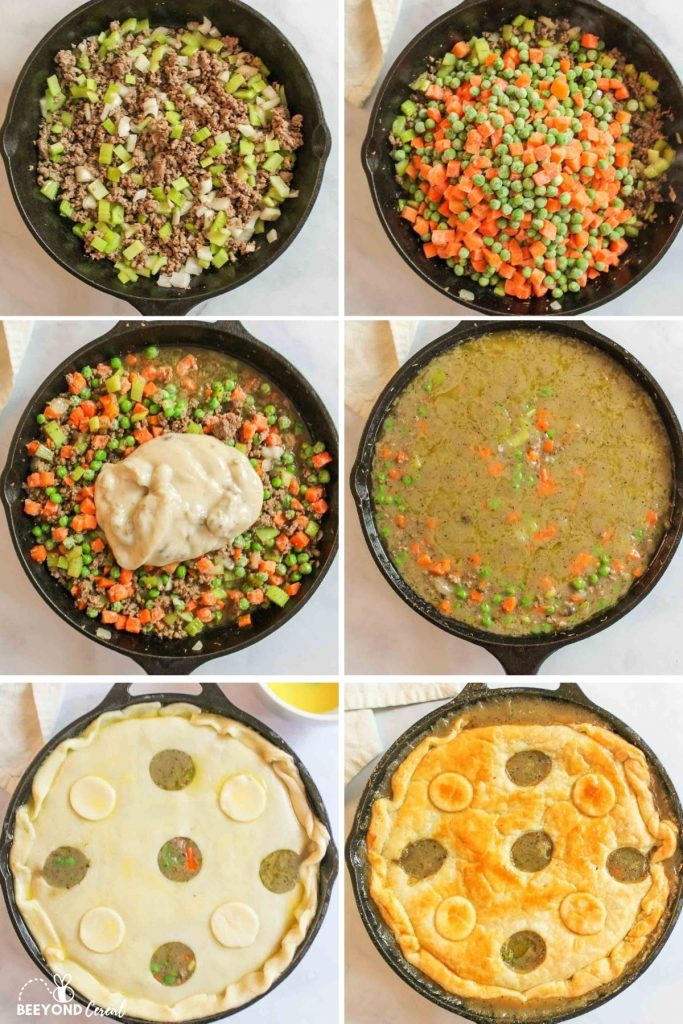 a collage showing how to make ground beef pot pie in cast iron skillet