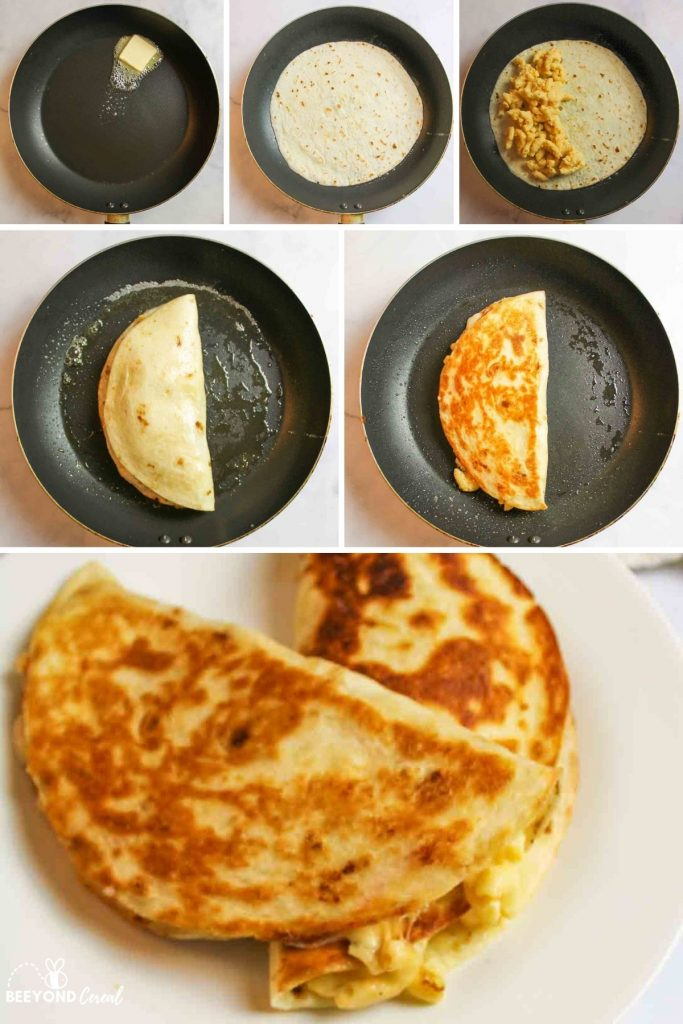 collage showing how to make mac and cheese quesadillas